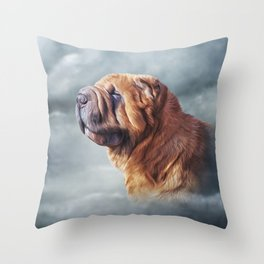 Drawing Chinese Shar-Pei dog Throw Pillow