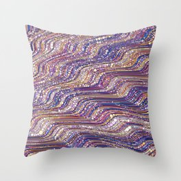 tia - abstract wave design in cool tones champagne pink blue mauve purple Throw Pillow