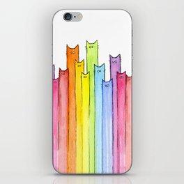 Cat Rainbow Watercolor Pattern iPhone Skin