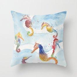 Colorful Seahorses Throw Pillow