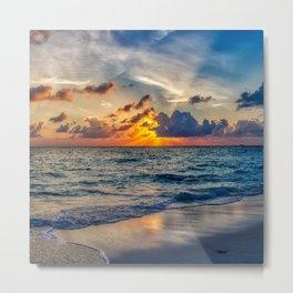 Beautiful sunset on beach Metal Print
