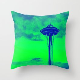 Space Needle (Seahawks Colors) Throw Pillow