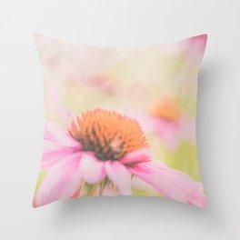 Pink Coneflower Revels Throw Pillow