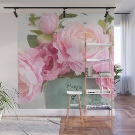 Paris Pink Peonies Bouquet Wall Mural