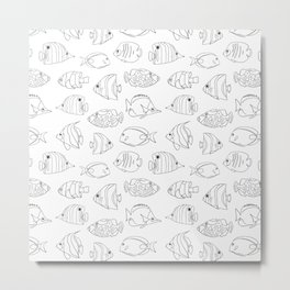 Tropical Fish Black On White Metal Print