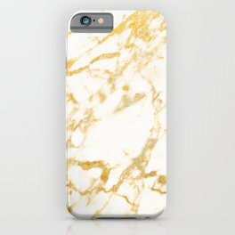 Ivory White Marble With Gold Glitter Ribboned Veins iPhone Case