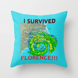 I Survived Hurricane Florence!!! Throw Pillow
