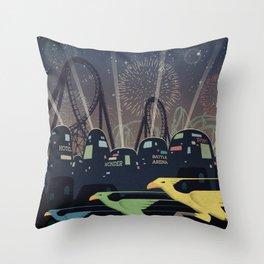Final Fantasy VII Gold Saucer Travel Poster Throw Pillow