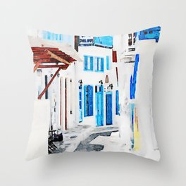 Watercolor Painting of Mykonos Throw Pillow