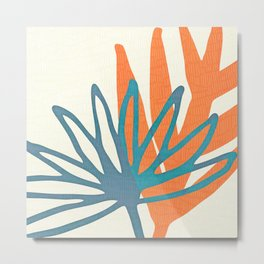 Mid Century Nature Print / Teal and Orange Metal Print