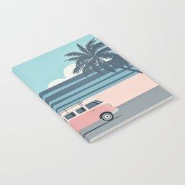 Surfer Graphic Beach Palm-Tree Camper-Van Art Notebook