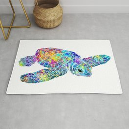 Colorful Sea Turtle Watercolor Art Rug
