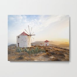 Sunset at the windmills of Hora, Amorgos island. Cyclades, Greece Metal Print