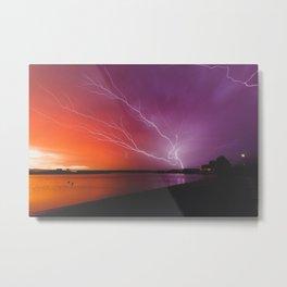 Lightning Storm at Sunset Metal Print