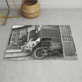Old steam locomotive in the depot ZUG001CBx Le France black and white fine art photography by Ksavera Rug