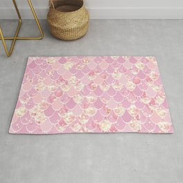Girls Cute Mermaid Art, Pink and Gold Rug