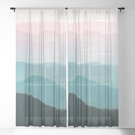 Smoky Mountain National Park Sunset Layers III - Nature Photography Sheer Curtain