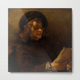 Titus van Rijn, the Artist's Son, Reading Metal Print