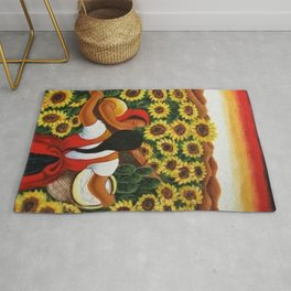 Classical Masterpiece Sunflowers 'Chismosas' by Diego Rivera Rug