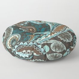 Turquoise Brown Vintage Paisley Floor Pillow