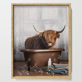 Highland Cow in the Tub Serving Tray