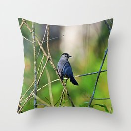 Cat Bird in the Slough Throw Pillow
