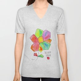 """Bloom Your LOVE"" Original Watercolor Flowers pattern Unisex V-Neck"