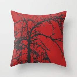 Creepy tree silhouette, black on red Throw Pillow