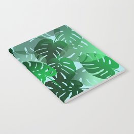 Green Big Monstera Leaves - blue Notebook