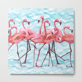 Watercolor Flamingo Flamongos Metal Print