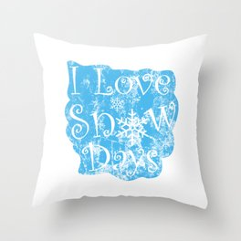 I love Snow Days Distressed Throw Pillow