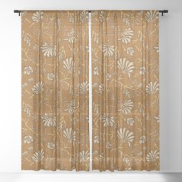 KALAMI FLORAL MUSTARD Sheer Curtain