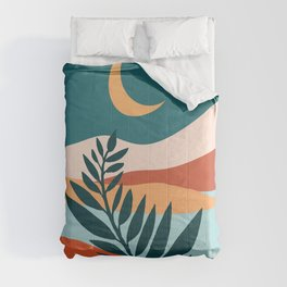 Moonlit Mediterranean / Abstract Landscape Comforters