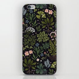 Herbarium ~ vintage inspired botanical art print ~ black iPhone Skin