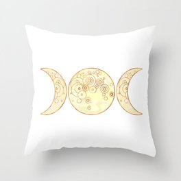 Triple Moon - Golden Throw Pillow