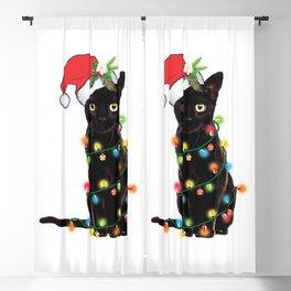 Santa Black Cat Tangled Up In Lights Christmas Santa Graphic Blackout Curtain