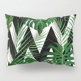 Geometrical green black white tropical monster leaves Pillow Sham