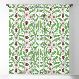 Ladybugs & Daisies - Cute Floral Bug Pattern with Ladybirds Blackout Curtain