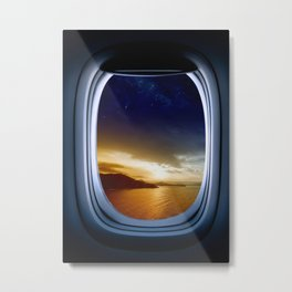 Airplane window with Milky Way, porthole #2 Metal Print