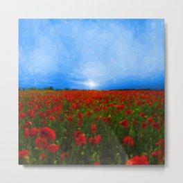 Poppy Field Sunset Metal Print