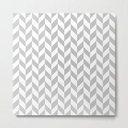 Herringbone (Gray & White Pattern) Metal Print