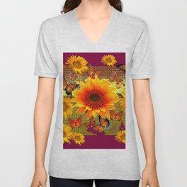 Burgundy Purple Butterflies Sunflowers Floral Art Unisex V-Neck