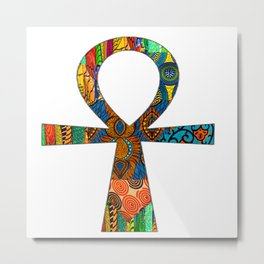 Colorful Ankh Metal Print