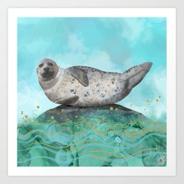 Cute Alaskan Iliamna Seal in Banana Pose Art Print