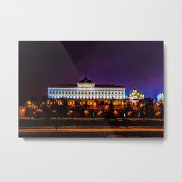 Grand Kremlin Palace At Winter Night Metal Print
