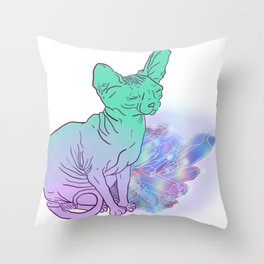 Cat With Crystals Sketch Throw Pillow