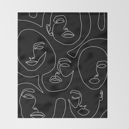 Faces in Dark Throw Blanket