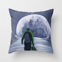 'Moonlight Snowboarder' Throw Pillow