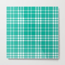 Green Teal White 90s Plaid Metal Print