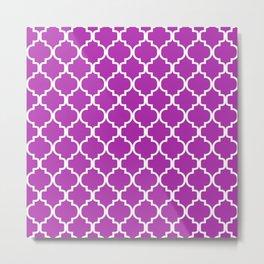 Moroccan Trellis (White & Purple Pattern) Metal Print
